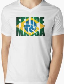 Felipe Massa - Brazilian Flag - Formula 1 Mens V-Neck T-Shirt