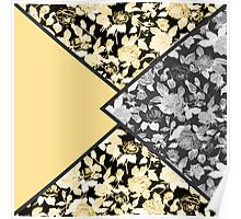 Coral Orange, Black and white Floral Print Fold Poster