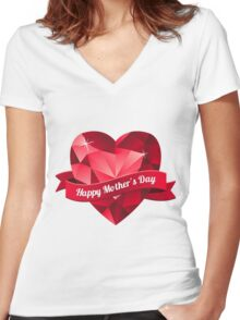 Happy Mother's Day heart pattern Women's Fitted V-Neck T-Shirt