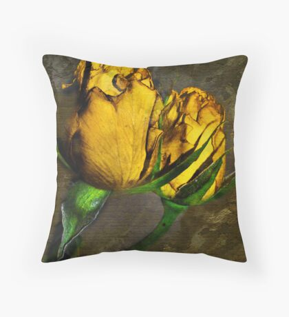 torch yellow rose Throw Pillow