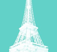 White tour eiffel ink outline - Paris, France by faithie