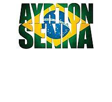 Ayrton Senna - Brazilian Flag - Formula 1 Photographic Print
