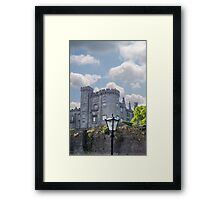 old antique street lamp and castle view Framed Print