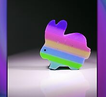 Rainbow Bunny Card by Johanne Brunet