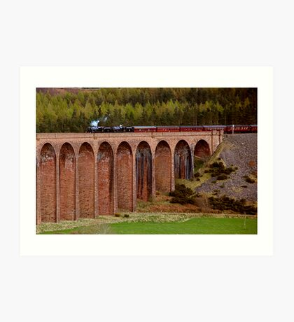 Steam Train crossing the Clava Viaduct Art Print