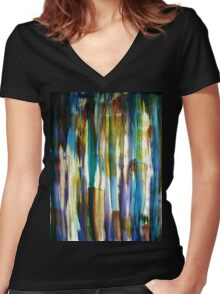 Looking out through Coloured Bark Women's Fitted V-Neck T-Shirt