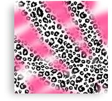 Pink Paint and Black and White Leopard Print Canvas Print