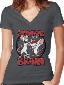 Zombie and the Brain Women's Fitted V-Neck T-Shirt