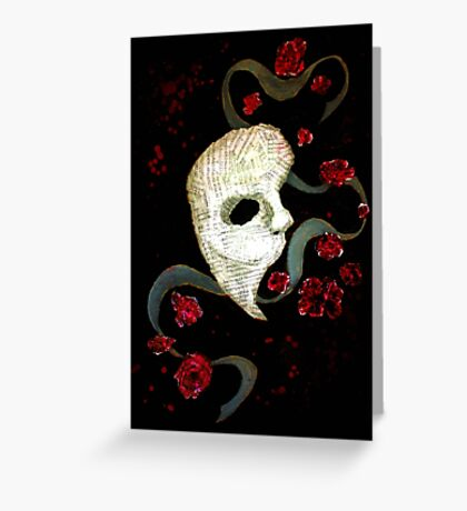 Phantom of the Opera Mask and Roses Greeting Card