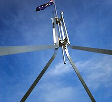 Flagpole at Parliament House - Canberra by Darren Stones