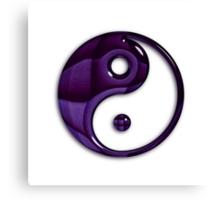 Glossy Glass Purple Patterned Yin Yang Symbol Canvas Print