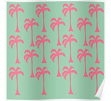 Bright Pink Palm Trees on Seafoam Green  Poster