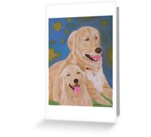 Golden Memory Portraits of Two Golden Retrievers Greeting Card