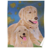 Golden Memory Portraits of Two Golden Retrievers Poster