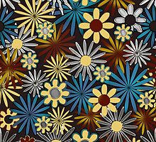 Blue and Yellow Daisies on Brown by bloomingvine