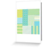 Spring Sunshine Daffodils Faux Patchwork Pattern Greeting Card