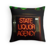 Liquor Store Neon Sign Throw Pillow