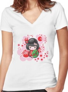Japanese Doll Women's Fitted V-Neck T-Shirt