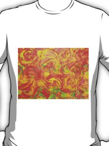 Red Orange Yellow & Green Abstract Swish T-Shirt