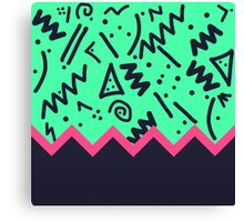 Neon Retro 80's Squiggly Pattern Zigzag Canvas Print