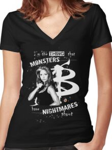 BUFFY: NIGHTMARES Women's Fitted V-Neck T-Shirt