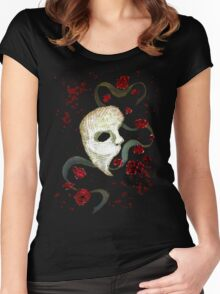 Phantom of the Opera Mask and Roses Women's Fitted Scoop T-Shirt