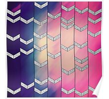 Pink, Purple, and Peach Watercolor Chevron Stripes Poster
