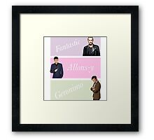 9th-11th doctors with catchphrases  Framed Print