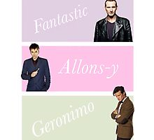 9th-11th doctors with catchphrases  Photographic Print