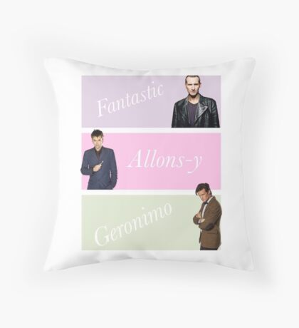 9th-11th doctors with catchphrases  Throw Pillow