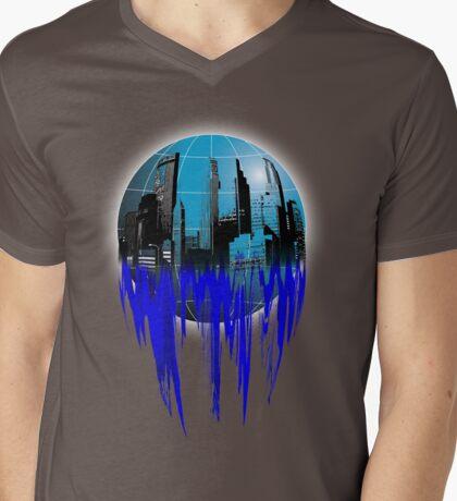 City Globe Mens V-Neck T-Shirt