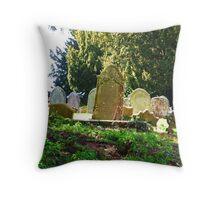 Graveyard at Grendon Parish Church, Northamptonshire Throw Pillow