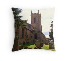 Graveyard and tower, Grendon Parish Church, Northamptonshire Throw Pillow