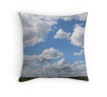 Clouds drifting above the English countryside Throw Pillow