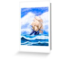 Old Ironsides - The Historic USS Constitution At Sea Greeting Card