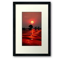 SUNSET WITH ELEPHANTS - BOTSWANA Framed Print