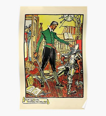 Don Quixote of the Mancha retold by Judge Parry Illustrated by Walter Crane 1920 8 - Don Quixote Testing His Helmet Poster