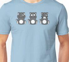 Hear No, See No, Meow No Evil (Grey Cat) Unisex T-Shirt