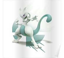 Cyan Mewtwo Super Smash Bros 3ds/wii u Poster