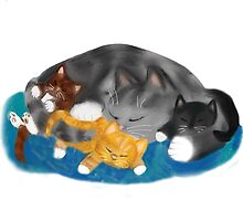 Three Kittens on Momma have a Cat Nap by NineLivesStudio