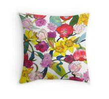 Tulips & Daffodils Throw Pillow