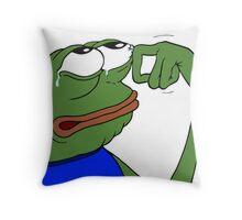 crying pepe the frog meme Throw Pillow