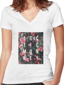 Arctic Monkeys Floral Shirt Women's Fitted V-Neck T-Shirt