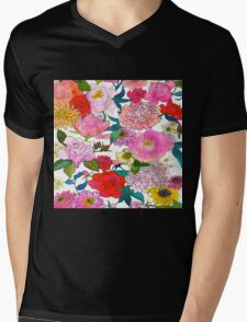 Peonies & Roses Mens V-Neck T-Shirt