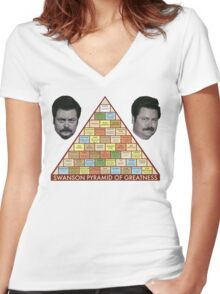 Swanson Pyramid of Greatness Women's Fitted V-Neck T-Shirt