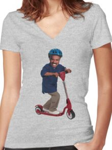 """""""This is Steve Harvey as a Five Year Old Riding a Scooter"""" Women's Fitted V-Neck T-Shirt"""