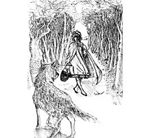 The Little Girl and The Wolf  Photographic Print