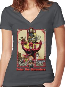 Enter The Defenders Women's Fitted V-Neck T-Shirt