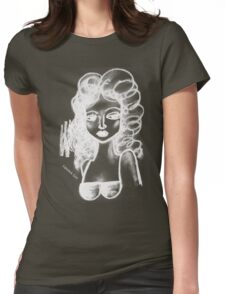 Lip Stick Girl in White Tshirt Womens Fitted T-Shirt