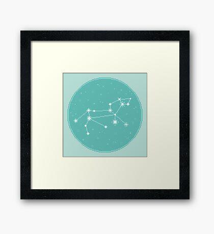 8Bit Constellations:  Leo Framed Print